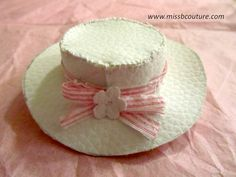 White faux leather hat for Barbie Tutorial