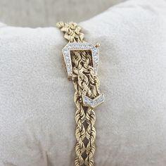 Vintage 14k Yellow Gold Diamond Belt Buckle Bracelet, $1,724.00