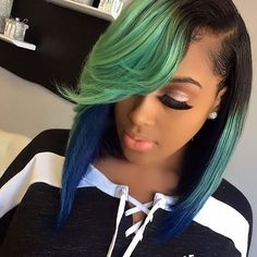 18 Shades of Hair Colorful Hair Show ♀ Sew In Hairstyles, My Hairstyle, Black Girls Hairstyles, Straight Hairstyles, Curly Hair Styles, Natural Hair Styles, Hair Laid, Hair Shows, Green Hair