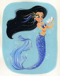 It's always nice to find a bit of treasure! :) This is an digital print of an original gouache painting. It will come printed on Epson Velvet Fine Art Paper and shipped in a stiff envelope with backing board and plastic protective sleeve. Mermaid Fairy, Mermaid Tale, Real Mermaids, Mermaids And Mermen, Art Mignon, Mermaid Pictures, Mermaid Drawings, Merfolk, Magical Creatures