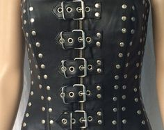 Real Lambskin Leather Corset w/ Stud and buckle detailing, Spiral steel boning,& traditional lacing. suitable for steam punk, Gothic,Bikers