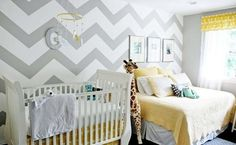 Gray and yellow nursery--love the chevron wall and yellow accents!  The only thing that is missing is robins egg blue accents