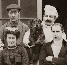 <3 Looks like the staff? Cook, house maid, butler, driver, and chief dog. :) The cook is so great; he's like the 'Happy baker' straight from central casting. Or the 'jolly cook'. And he's the one holding the doggie. <3