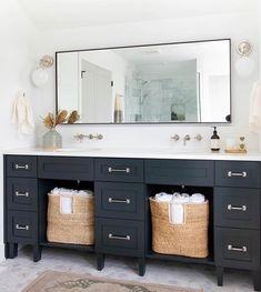 modern farmhouse bathroom design with navy vanity, modern metal vanity mirror, modern bathroom sconce with marble floor, bathroom decor ideas 👌🏼 this bathroom from Bathroom Interior Design, Vanity, Double Vanity Bathroom, Bathroom Vanity Designs, Modern Bathroom, Bathrooms Remodel, Bathroom Decor, Beautiful Bathrooms, Vanity Design