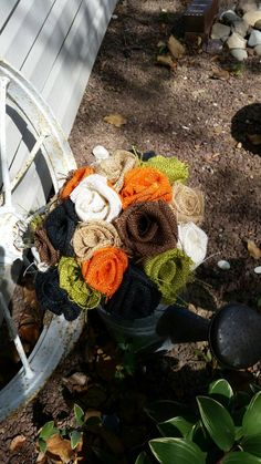 Check out this item in my Etsy shop https://www.etsy.com/listing/235426513/handmade-burlap-wedding-bouquet-diy-fall