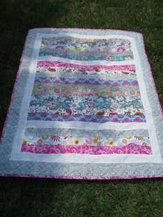 Pink and gray charmer baby girl quilt by StitchMeaMemory on Etsy, $85.00