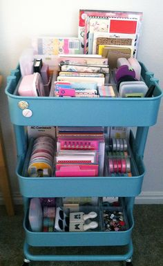 Organizing: Ikea Raskog Cart Update.  The Turquoise color was just to tempting.  The Antonius Dividers are the perfect size for journal cards, ribbon rolls, washi tape and punches. The area behind the dividers gives you extra room to store 6x6 paper pads and notebooks.  This cart is perfect for Project Life. {karla_karlaj}