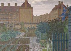 """Bethnal Green Allotment by Charles Ginner 1943 ( Manchester City Art Gallery, City Gallery, London Art, East London, London Pride, Garden Painting, Garden Art, Herb Garden, London Painting"
