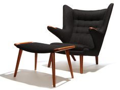the Papa Bear and Ottoman by Hans Wegner | From a unique collection of antique and modern lounge chairs at https://www.1stdibs.com/furniture/seating/lounge-chairs/