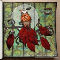 """23.1.2017 New style - art journal page, acrylic paints, colored pencils, stamped acetate, stamps and stencils in Seawhite hardcover art journal (20x20 cm / 7.5""""x7.5"""").   http://romanassunnycreation.blogspot.ch"""