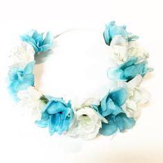 Frozen flower crown / baby flower crown / blue and white flower crown / flower headband / frozen / glitter / flower girl / bridesmaid