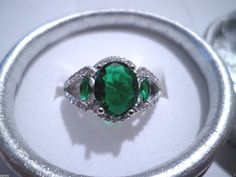 womens emerald green zirconia accents ring sizes 7 and 8- 925 sterling silver #Unbranded #Cocktail #Any