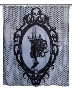 Inked Boutique - Octopus Cameo Shower Curtain Victorian Inspired Lady Ship Skulls www.inkedboutique.com
