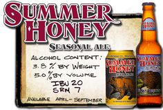 Alcohol content 3.8% by wieght 4.7% by volume 20 IBU 7 SRM available April through September Image