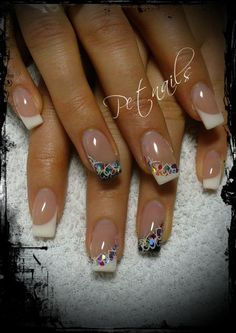French manicure nails adorned with rhinestones Pretty Nail Designs, Nail Art Designs, Nails Design, Hot Nails, Pink Nails, Fancy Nails, Pretty Nails, French Manicure Nails, Fabulous Nails