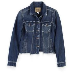 PAIGE Rowan Jacket - Felix Distressed Uneven Hem ($249) ❤ liked on Polyvore featuring outerwear, jackets, denim, felix distressed, jean jacket, vintage jean jacket, denim jacket, distressed jacket and blue denim jacket