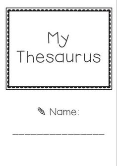 Printable Hanging Thesaurus for your Classroom- Synonyms