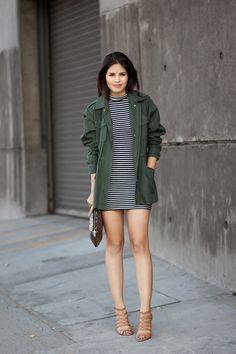 striped dress - green militar parka - sequin clutch - ivanka trump sandals