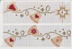 Boa noite  Segue mais gráficos natalinos, lindos que vou bordar alguns...                                                                   ... Cross Stitch Boarders, Xmas Cross Stitch, Beaded Cross Stitch, Cross Stitching, Cross Stitch Embroidery, Cross Stitch Patterns, Christmas Yarn, Christmas Cross, Stitch Design