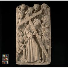 Panel - Christ bearing the Cross  Place of origin: England, Great Britain (made)  Date: 15th century (made)  Artist/Maker: Unknown (production)  Materials and Techniques: Carved and gilt alabaster