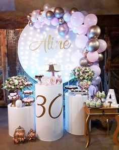 Chivalrous quinceanera party themes More Info 30th Birthday, Birthday Celebration, Birthday Parties, Elegant Birthday Party, 40th Party Ideas, Deco Buffet, Fiesta Theme Party, Birthday Balloon Decorations, Baby Shower Backdrop