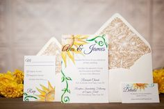 Sunflower wedding invitation suite by Pineapple Street Designs