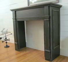 4 Dumbfounding Cool Tips: Black Fireplace Wall fake fireplace chimney. Faux Mantle, Faux Fireplace Mantels, Candles In Fireplace, Black Fireplace, Concrete Fireplace, Fireplace Surrounds, Pallet Fireplace, Mantle Shelf, Simple Fireplace