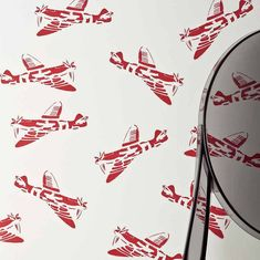 'Spitfires' white & red wallpaper for Sale at Bouf Words Wallpaper, White Wallpaper, Big Boy Bedrooms, Baby Boy Rooms, Childrens Bedroom Wallpaper, Bedroom Toys, Kids Bedroom, Wallpaper For Sale, Toy Rooms