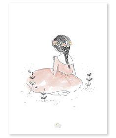 Affiche romantique fillette - décoration chambre enfant – Lilipinso