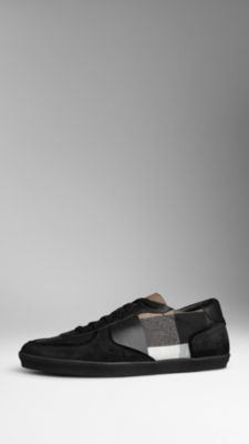 coated canvas check trainers - burberry  #shoes #mensshoes #burberry #canvas #mensfashion