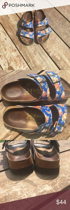 BIRKENSTOCK PAPILLIO FLORAL ARIZONA SANDAL Great Preloved condition BIRKENSTOCK PAPILLIO ARIZONA sandals in a 39 narrow. Footprint is filled which indicates a narrow fit. Best for 8/8.5. No box. Great vibrant colors for any sunny day! ☀️POSH ONLY☀️ Birkenstock Shoes Sandals