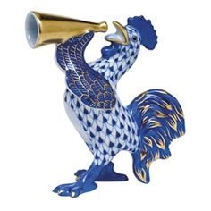 Herend Crowing Rooster Figurine Sapphire Fishnet