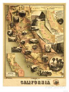 California - Panoramic Map Prints by Lantern Press at AllPosters.com