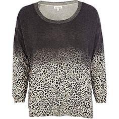 Grey dip dye leopard print jumper - jumpers - knitwear - women