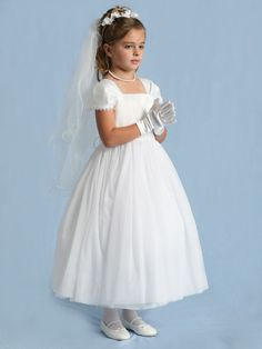 First Communion Dress with Cap Sleeves - First Communion Dresses