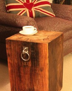 Chunky wooden side table created from reclaimed wood from Plymouth Naval Dockyard. Pop your coffee on some of our Naval history! Designed and handmade in Devon!