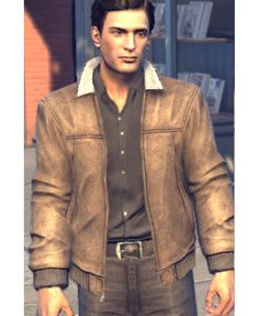 Mafia 2 Game Vito Scaletta Bomber Brown Leather Jacket
