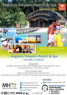 This resort is located on its own tropical paradise and is a picturesque 45 minute flight from Male airport. The small island is filled with tropical palm trees and is surrounded by untouched white sandy beaches. Featuring stylishly designed bungalows, Velavaru Resort aims to offer an opulent stay by featuring modern amenities and brilliantly located villas that capture amazing views of the crystal clear waters.  http://www.maldivesholidayoffers.com/resorts/angsanavelavaru/angsanavelavaru.ph...