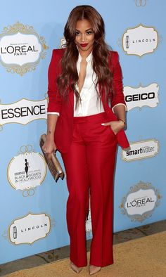 Annual Essence Black Women in Hollywood luncheon held at the Beverly Hills hotel Featuring: Lauren London Where: Los Angeles, California, United States When: 21 Feb 2013 Credit: Brian To/WENN. Lauren London, Business Outfits, Business Attire, Classy Outfits, Cute Outfits, Work Fashion, Fashion Looks, Red Suit, Red Pants