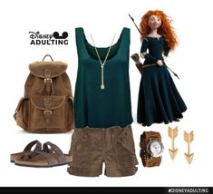 Disney Cosplay Disneybound Princess: 6 Must-Have Summer Styles for the Disney Fashionista Disney Bound Outfits Casual, Disney Princess Outfits, Disney Themed Outfits, Cute Outfits, Mom Outfits, Disney Cosplay, Disney Costumes, Merida Outfit, Disney Mode