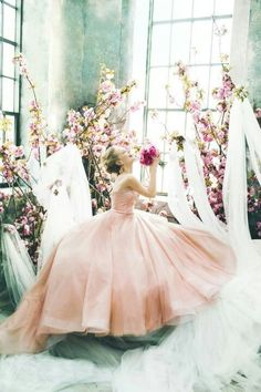 Pink dreamy dress flowing with the owner <3