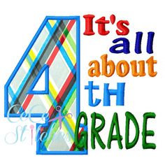 All About 4th Grade Applique Design - pinned by pin4etsy.com