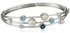 Sterling Silver Cluster Freshwater Cultured Pearl and Blue Topaz Diamond Bangle Bracelet (1/10cttw) Amazon Collection http://smile.amazon.com/dp/B00OXV6CUE/ref=cm_sw_r_pi_dp_xkJvwb1PRJYPV