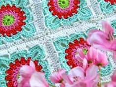 These crochet african flowers are a gorgeous colour. I absolutely love this free pattern