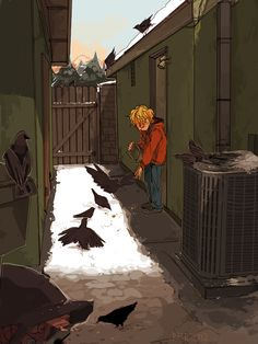 """By runmonsterun, 2012: """"And we were cautioned to never talk to the strange boy who fed the crows And to this day I'm jealous of the birds that got to know him"""""""