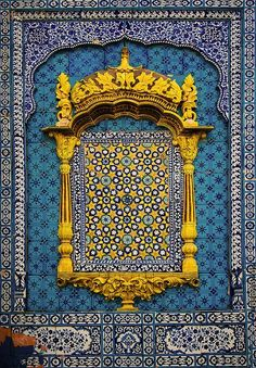 """Beautiful Tile Art from the shrine of famous Sufi Saint - Hazrat Sachal Sarmast located in village Daraza of district Khairpur Mirs, Sindh, Pakistan. This tile work from Pakistan is famously known as """"Kashi-gari"""". Indian Architecture, Beautiful Architecture, Architecture Details, Modern Architecture, Arabesque, Art Du Monde, Moroccan Style, Mellow Yellow, Blue Yellow"""