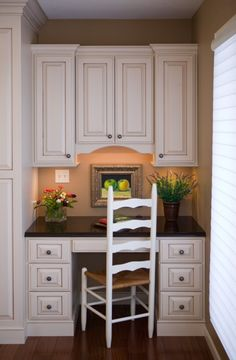 Small office nook-this would be perfect for in the kitchen as a homework space or a space to pay bills! by donna Home Kitchens, Kitchen Remodel, Kitchen Design, Home Office Design, Kitchen Nook, Kitchen Office Nook, New Kitchen, Kitchen Redo, Home Decor