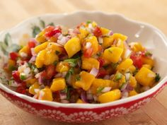 Get Mango de Gallo Recipe from Food Network... tomato, cilantro, jalopeno, red onion