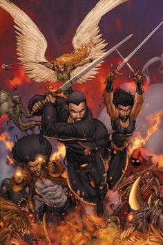 Banks' Vampire Huntress, Vol. 1 The Neterus and worldwide Guardian teams have defeated Satan's top demon, The Thirteenth, and have driven back the forces of evil in the first battle of the. Black Anime Characters, Superhero Characters, Comic Book Characters, Comic Books Art, Comic Art, Brett Booth, Character Art, Character Design, Black Comics