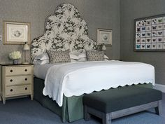 hotel bedroom Heavenly headboard by Kit Kemp using our Aurora, green on nivelles oyster Bedroom Green, Bedroom Decor, Haymarket Hotel, Cosy Room, Head Boards, Suites, Contemporary Bedroom, Contemporary Kitchens, Guest Bedrooms